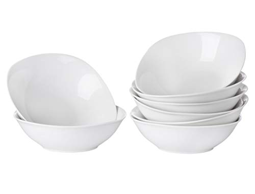 orcelain Soup Bowls | White Square Soup And Cereal Dinnerware Bowl Set | 6.5-inch (18oz) ()