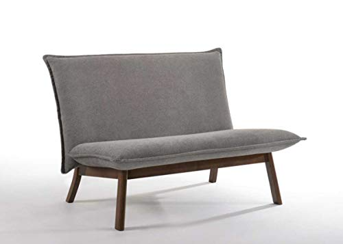 (Limari Home LIM-75430 Diego Collection Modern Style Fabric Upholstered Veneer Finished Living Room Loveseat with Solid Rubberwood Legs Grey & Walnut)