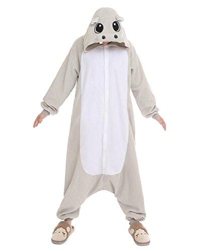 Newcosplay Unisex Adult Pyjamas Hippo Halloween Onesie Costume (S, Grey hippo)
