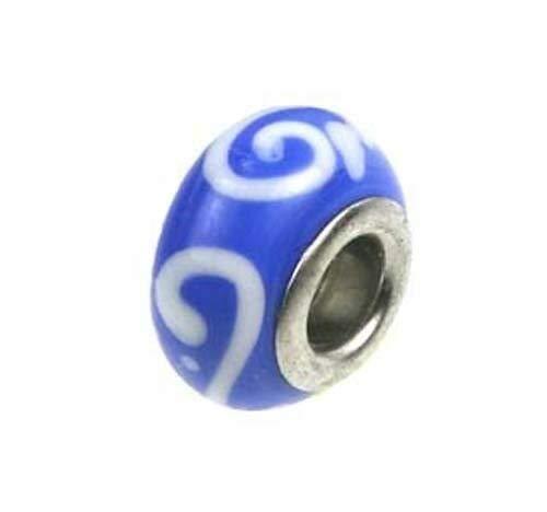 Cutdek Lampwork Handmade Bead Big Hole Fit Bracelet Charm Blue White Scroll