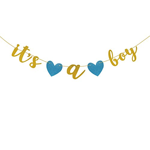 Famoby Gold Glittery Its a Boy Banner for Baby shower Party