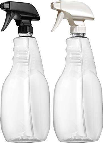 (Empty Spray Bottles for Cleaning Solution with Color Coded Trigger Sprayers, 32 Ounce, Adjustable Head Sprayer from Fine to Stream (Black&White Sprayers))