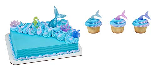 12 Cake Cupcake Ring - Mystical Mermaid Cake Topper & 12 Pack Mermaid Tail Wrap Cupcake Rings