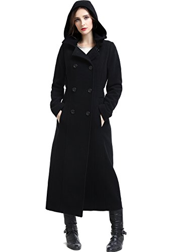 BGSD Women's Mariel Wool Blend Hooded Long Coat - Plus 3X Black - Cashmere Breasted Double