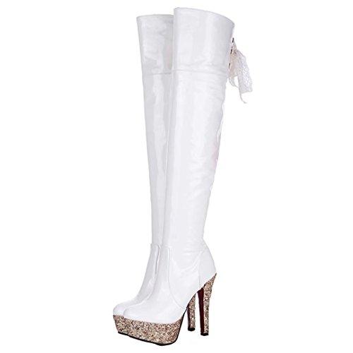 Aiyoumei Dames Lakleer Glitter Hiel Plateau Spike Hak Winter Over De Knie Laarzen Met Kanten Wit