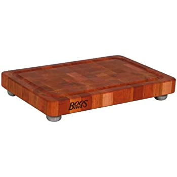 John Boos Cherry Wood End Grain Butcher Block Cutting Board with Juice Groove and Stainless Steel Feet, 18 Inches x 12 Inches x 1.75 Inches