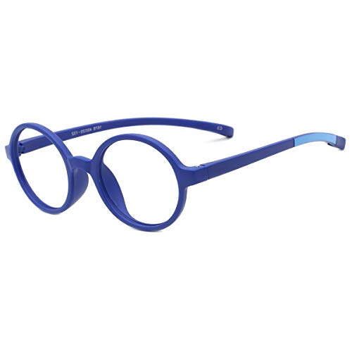 modesoda Kids Round Eyeglasses,Rubber Flexible