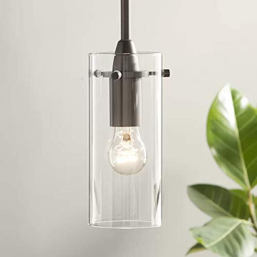 T&A One-Light Mini Cylinder Pendant Light, Clear Glass Shade with Matte Black Fittings Modern Ceiling ()