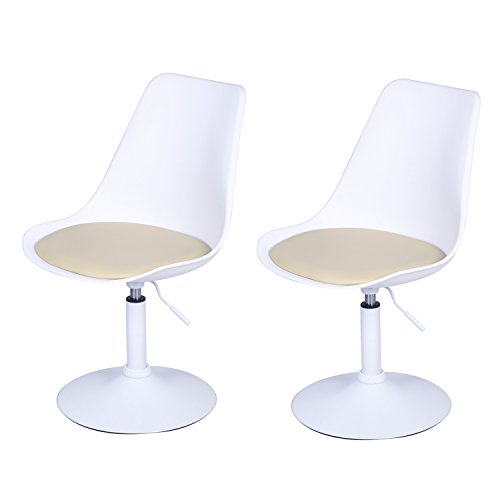 Joveco Tulip Adjustable 360 Degree Swivel Chair Set of Two (Swivel Cafe Chair)