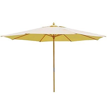 e467e0f9a2a3 13ft Sycamore Wood Centre Pole Beige Umbrella Outdoor Patio Beach Market  Garden