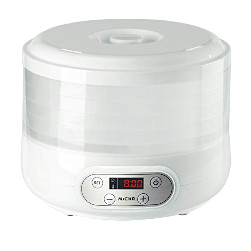 Micho Digital Electric Food Dehydrator Machine, Multi-Tier Food Dryer with Temperature Control and Automatic Shut Off for Jerky, Dried Fruit, Vegetables & more, 5 Stackable Trays, Dishwasher Safe