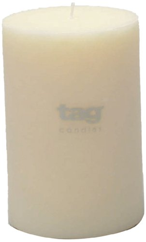 Tag 100075 4-Inch by 6-Inch Unscented Long Burning Pillar Candle, (Pillar Candle Tag)