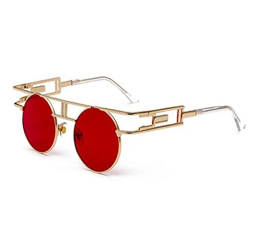 Hellomiko Oro marco Gafas de de Rojo aviador de metálicas Steampunk vintage de Gafas redondo góticas sol r6TBrq