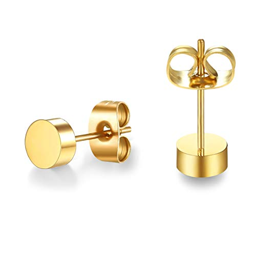 (Stainless Steel Rose Gold Plated Dot Stud Earrings (Gold))