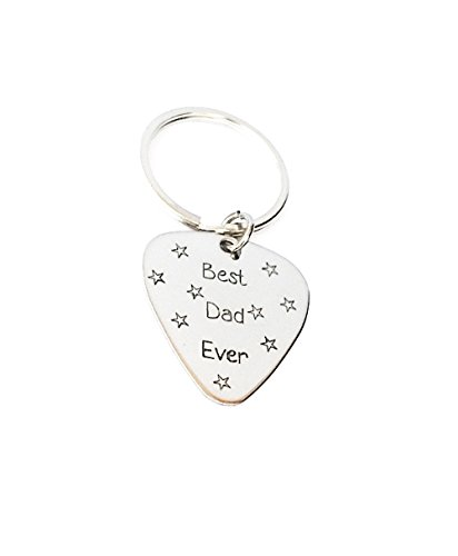 Best Dad Ever - Guitar Pick Keychain - Handstamped Custom Key chain - Personalized Gift for Daddy