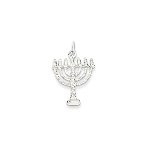Sterling Silver Menorah Charm with a Carded Box Chain Necklace, 18 inch