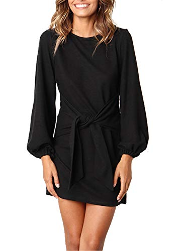 MIDOSOO Puff Sleeve Dresses for Women Belted Tie Front Pencil Tunic Dress Casual Round Neck Solid Color Black 2XL ()