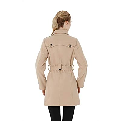 Wantdo Women's Double Breasted Pea Coat Winter Trench Jacket with Belt: Clothing