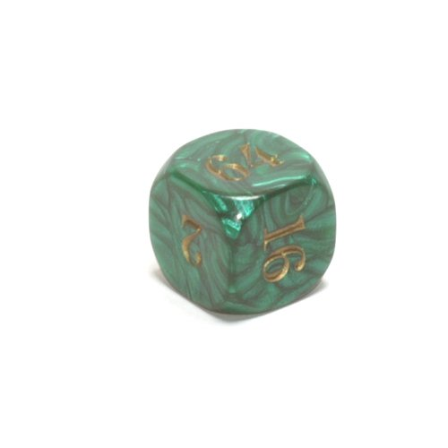 22mm (7/8) Backgammon Doubling Cube, Green with Gold by Koplow Games by Koplow Games