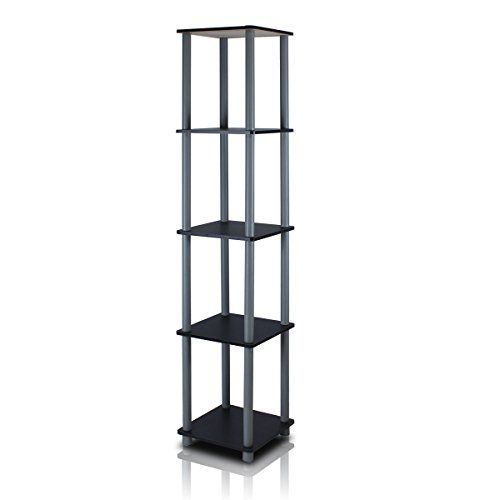 Furinno 99132BK/GY Turn-N-Tube 5-Tier Corner Square Rack Display Shelf, Black/Grey