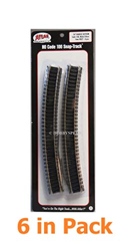 (6Pcs in Pack AtIas HO Scale 24'' Radius Curves Track #100 Black Ties ns Rail Hobby Train Quick Arrive)