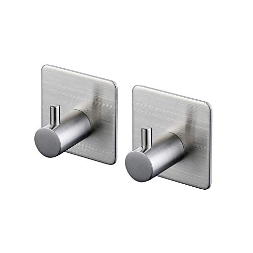 KES 3M Self Adhesive Hooks SUS 304 Stainless Steel Heavy Duty Small Coat Picture Hook Self Sitck On Wall Hook Sticky Brushed Finish 2 Pieces, A7060-P2 by Kes