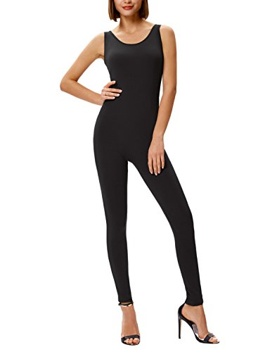 Leg Unitard - Sleeveless U-Neck Stretchy Jumpsuits Rompers Slim Fit Leg For Women Yoga Black S
