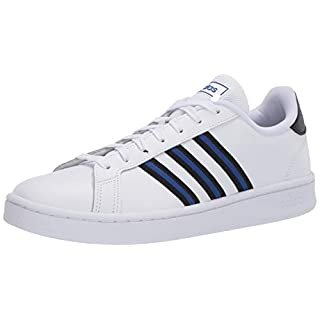 adidas mens Grand Court Tennis Shoe, White/Core Black/Team Royal Blue, 7.5 US