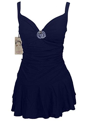 Womens Plus-Size One-Piece Swimsuit Sexy Backless V-neck Swimdress Swimwear Navy Blue US12-14/Tag 58 (V-neck Swimdress Swimsuit)