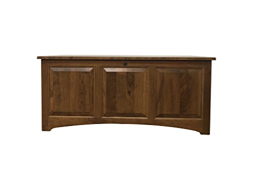 Amish Blanket Chest - Raised Panel Chest, Mission, Blanket Storage Chest, Hope Chest, Cedar Bottom, Rustic Cherry Wood, Seely Stain