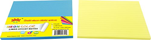 4A  Sticky Notes,6 x 8 Inches,Large Size,Neon Yellow&Blue,Lined,Self-Stick Notes,100 Sheets/Pad,2 Pads/Pack,4A 608x2-N-L-YB