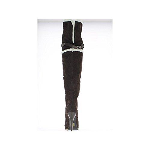 Bottes cuissardes plateforme marrons à talon de 11cm.