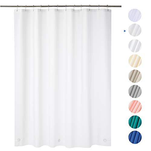 AmazerBath Plastic Shower Curtain, 72 x 72 Frosted EVA 8G Thick Bathroom Shower Curtains Eco-Friendly with Heavy Duty Stones and 12 Rust-Resistant Grommet Holes