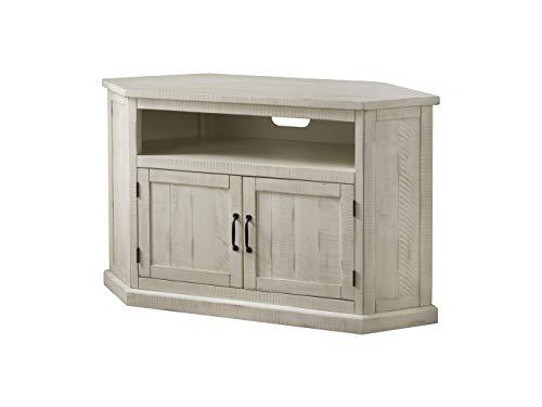 Martin Svensson Home 90973 Rustic Corner TV Stand All Antique White (Wood White Corner Tv Stand)