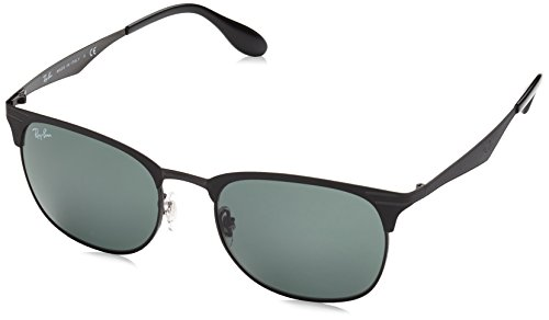 (Ray-Ban RB3538 Square Metal Sunglasses, Black On Matte Black/Green, 53 mm)