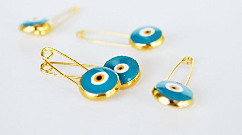 (10 Pcs Turkish Evil Eye Turquoise Safety Pins - Turkish Evil Eye Brooch Set Wedding invitation Packing Supplies)