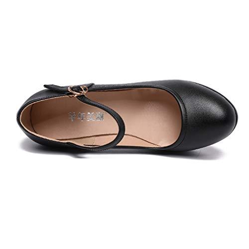 Donna A Fibbia Nero Rotondo Yan Passerelle Cheongsam Tacchi Scarpe Tacco Bocca Superficiale Moda Modello Alti tqYYEwH