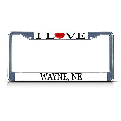 Cukudy Car Auto Tag Holder Chrome I Love Heart Wayne Ne Aluminum Metal Car Auto Tag Holder Chrome Silver (Best Auto Tags Wayne)