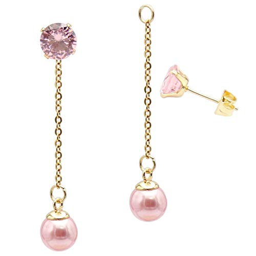 Fashion Pink Pearl Ball Drop Dangle Earrings with Chain for Women Girl Hypoallergenic Cubic Zirconia Stud Earring Jacket Enhancers