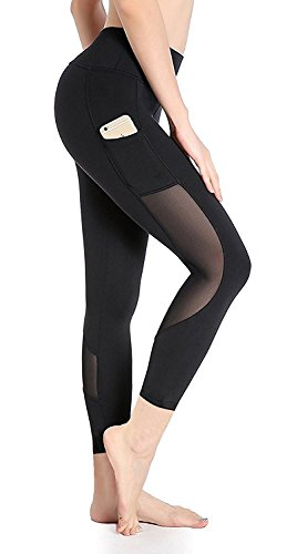 DeepTwist Women's Yoga Pants Mesh Active Workout Capri Leggings Stretch Running Tights With Side Pockst Black, ()