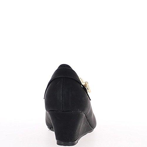 Tamaño bombas negro tacón compensado 5,5 cm