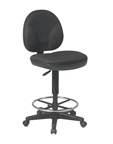 Office Star Sculptured Fabric Seat and Back Pneumatic Drafting Chair with Lumbar Support and Adjustable Chromed Footring, Black (Height Adjustment Back Fabric)