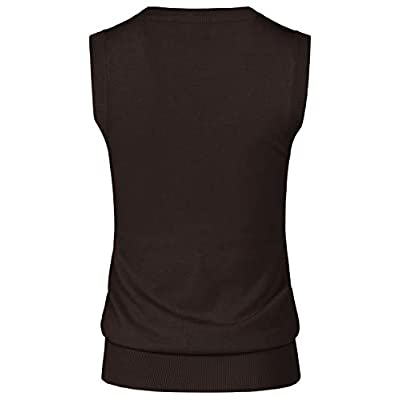 JSCEND Women's Solid Basic V-Neck Sleeveless Soft Stretch Pullover Sweater Vest Top at Women's Clothing store