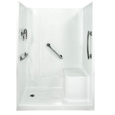 Left Drain Three Walls - Freedom Low Threshold System 3 Panels Shower Wall Drain Location: Left