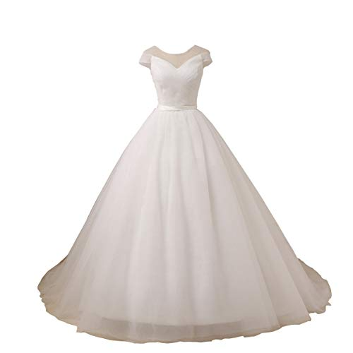 YIPEISHA Cap Sleeve Princess Puffy Wedding Dress A-line Tulle Bridal Dress for Women's 20W Ivory