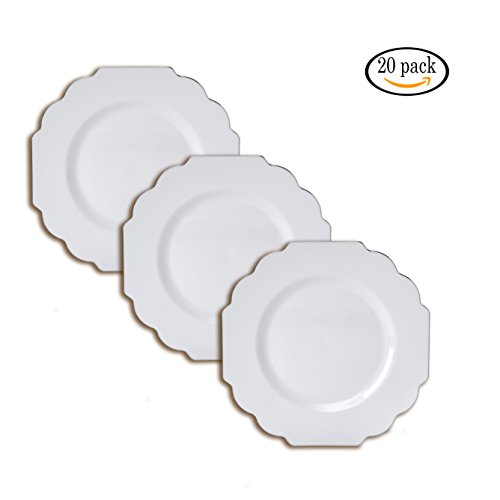 Party Disposable 20 pc Dinnerware Set | 20 Plates | Heavyweight Plastic Dishes | Elegant Fine China Look | for Upscale Wedding and Dining (Baroque Collection – Silver Edge/White | 10.75 (Baroque Silver Plated)