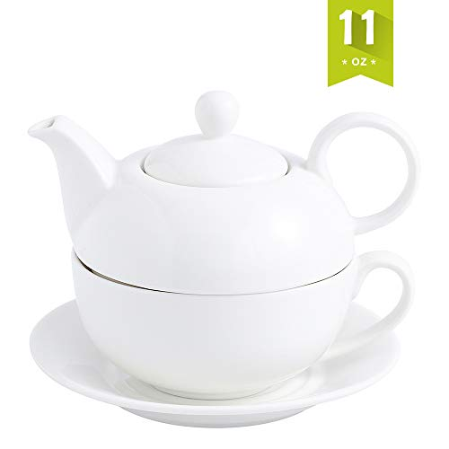 Malacasa Tea for One Set Teapot 11 Ounce and Cup 8.4 Ounce Porcelain Teacup and Saucer Set with Lid and 6 inch Saucer, White - Series Sweet Time