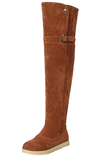 BIGTREE Buckle Women By Brown Winter Comfortable Knee Snow the Shoes Boots Fur Faux Warm Over Boots pq6P1wEE