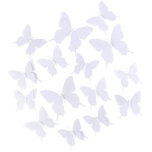 (3D Butterflies - 36-Pack Blank Butterfly Mural, Craft Butterfly Decorations, Perfect DIY Wall Decoration for Home, Nursery and Girls Bedroom, White, 3 Assorted Sizes)