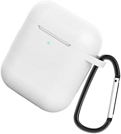 gazechimp イヤホン保護ポーチ カラビナ付き 耐衝撃性 シリコンカバー Apple AirPods用 全14色 - クリア